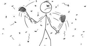 Stick figure person swatting away flies.