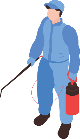 This clipart image is of a person with an extermination cannister